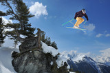 skier jumping from rocks with an arolla pine
