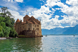 Chillon Castle (Chateau de Chillon) and lake Geneva,Switzerland
