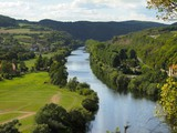 Canyon of river Berounka watched from a hill Javorka in a Karstejn village (Czech Republic).
