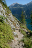 Mountain trail nearby St Bartholoma church at Koenigssee lake.