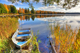 Alluminium boat in Swedish autumn scenery