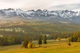 Morning panorama of Tatra Mountains in autumn, Poland