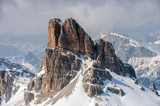 Dolomites huge panorama view in winter time