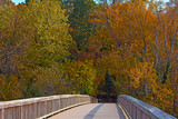 A bridge to Theodore Roosevelt Island in autumn.