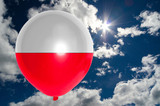 balloon with flag of poland on sky