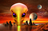 3d render of alien planet and alien.
