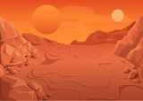 Red Planet Mars in space. Space landscape