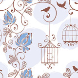 Spring pattern, vector illustration with flowers and birds