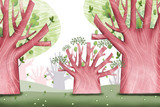 Creative Illustration and Innovative Art: Big Tree Forest. Realistic Fantastic Cartoon Style Artwork Scene, Wallpaper, Story Background, Card Design