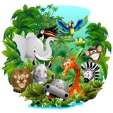 Jungle Animals Cartoon Jungle Animals Background-background-wektor