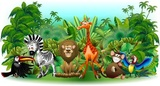 Dzikie zwierzęta Dzikie zwierzęta Cartoon Jungle Background-Vector-
