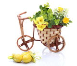 Wicker bicycle with flowers