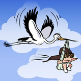Vector stork carries newborn