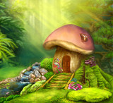 Fantasy mushroom cottage on a colorful meadow