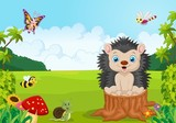 Cartoon sweet hedgehog in the jungle