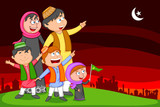 Happy muslim family wishing Eid mubarak