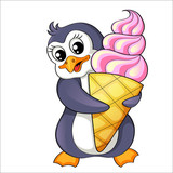 Cartoon penguin with ice cream