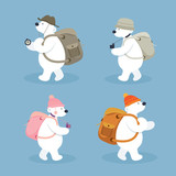 Arctic Polar Bear Characters, Backpacker, Winter, Nature Travel and Wildlife, Explorer, Discovery
