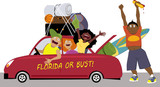 Group of college friends heading to Florida for a spring break in a car, EPS 8 vector illustration