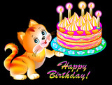 Greeting card with joyful kitten holding a cake, vector cartoon image.