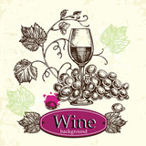 Hand draw wine vintage background