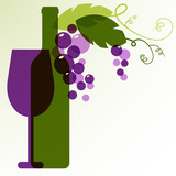 Wine bottle, glass, branch of grape with leaves. Abstract vector