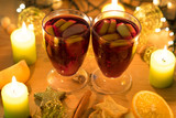 Mulled wine for Christmas in two glasses