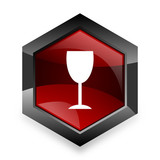 alcohol  red hexagon 3d modern design icon on white background