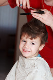 Boy with mother haircut