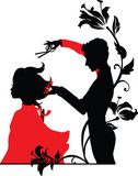 Barber and a girl silhouettes vector illustration
