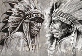 Native American Indian Head, szef, w stylu retro
