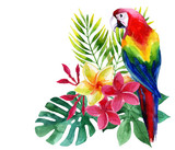 Watercolor parrot with exotic flowers and leaves