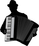 Musician Accordion Man With Hat  Vector Silhouette Illustration