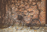 Vintage bicycle leaning on the wall