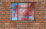 autumn foliage color outside window with brick wall