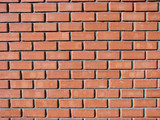 New brick wall from red bricks