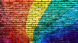 Rainbow painted brick wall.