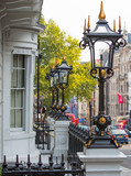 LONDON, UK - OCTOBER 4, 2016: Pall Mall street view with luxury houses entrances decorated with classic lantern