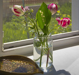 Tulips and lily of the valley in a glass jar, lit by the sun.