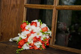 bridal bouquet in the window