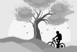 Silhouette woman cycling outdoor scene vector nature landscape background