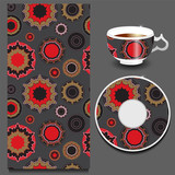 vector seamless orient pattern with cup and plate. russian desig