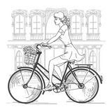 Girl bicyclist in Paris. Leisure young woman, urban travel, fashion city. Hand drawn beautiful girl in Paris vector illustration