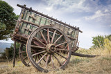 old wooden chariot in the countryside