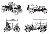 vector set of the retro automobiles