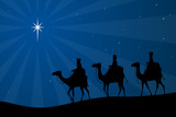 Vector illustration of the biblical three wise men heading toward the Star of Bethlehem.