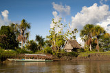 Authentic village in the Amazon rain forest near Iquitos, Peru