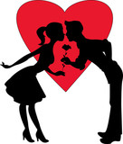 Lovers silhouette on a red heart background