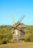 Antique wooden windmill