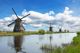 Windmills and water canal in Kinderdijk, Netherlands